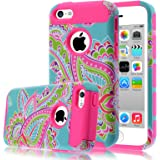 iPhone 5C Case,iphone5C Case,Kmall(TM) for iPhone 5C 2in1 High Impact Hybrid Dual Layer Case Heavy Duty Case Full-body Matte Rugged Armor Cover Case with Totem Tribe Floral Pattern (Hot Pink)
