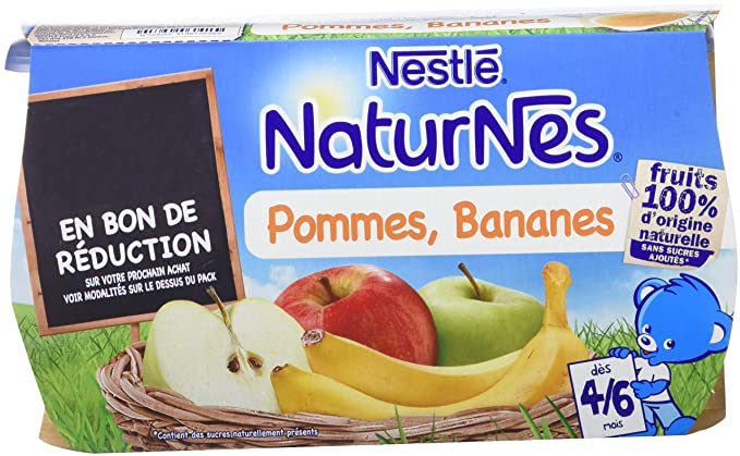 d13369023d025 NESTLE NATURNES Compotes Bébé Pommes Bananes -Lot de 4 -Dès 4 6 mois ...