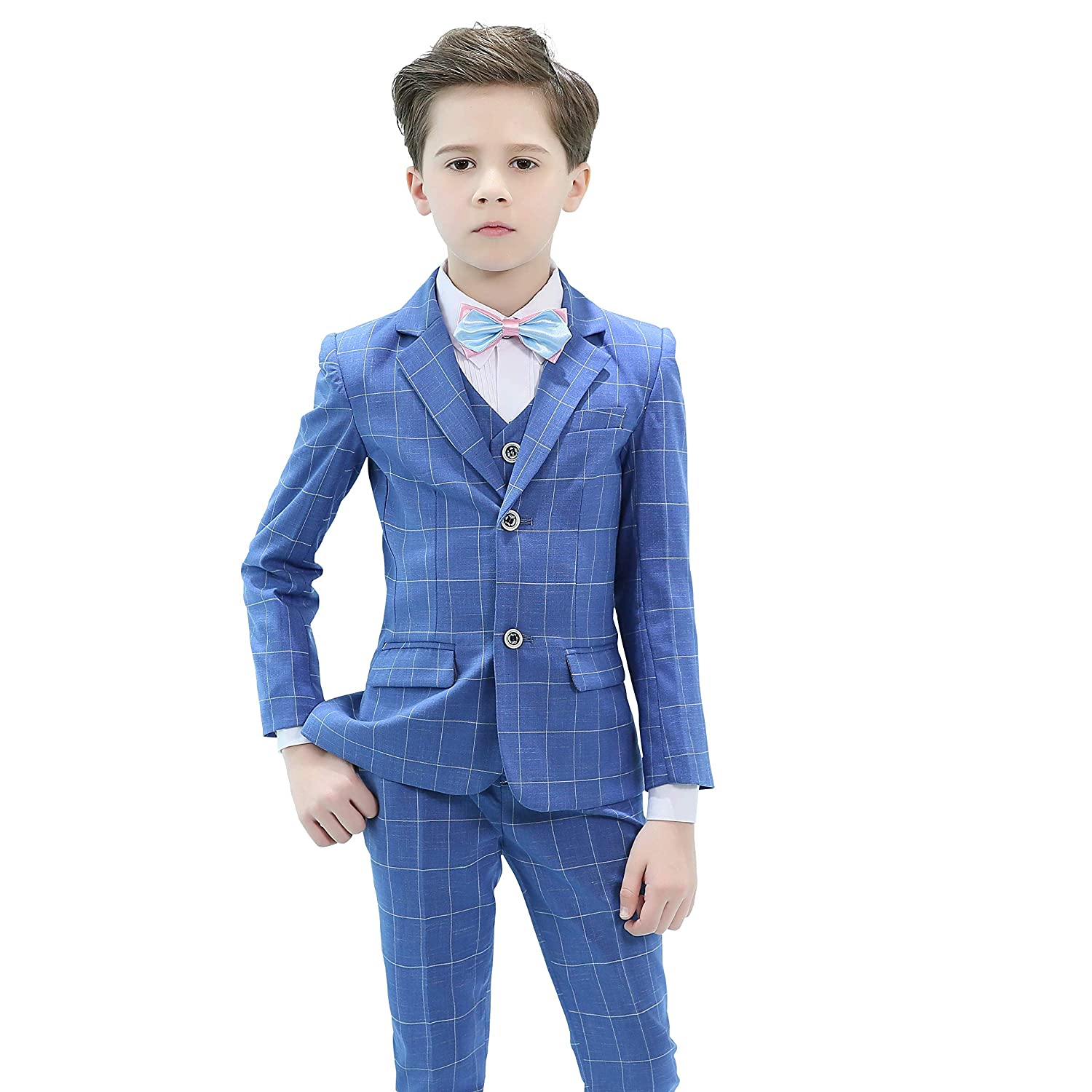 Amazon.com: Hibabe Boys Formal Suit Blue Plained Slim Fit ...