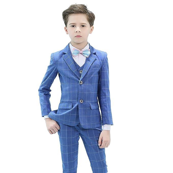 Amazon.com: Hibabe Boys Formal Suit Blue Plained Slim Fit ...