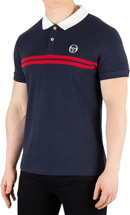 b2464de8 Sergio Tacchini Super Mac Polo Shirt | Navy/Red Small Navy at Amazon ...