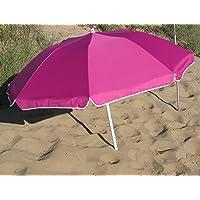 Parasol Pliable Compact Fushia Diam 160 cm en Suivant la courbure. Nylon avec Protection UV UPF50+ (SGS). Longueur plié dans Son Sac: 70 cm. Idéal pour Le Camping, la Plage, la randonnée