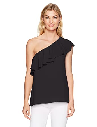 ed57836ba90 Amazon.com: French Connection Women's Summer Crepe Light One Shoulder Top:  Clothing
