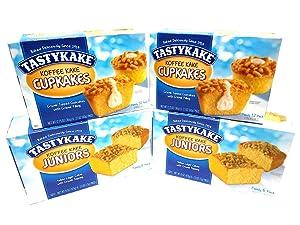 Tastykake Coffee Cake Breakfast Cake Variety Pack | 4 Family Size Boxes | Koffee Kake Juniors & Cream Filled Koffee Kake Cupcakes with