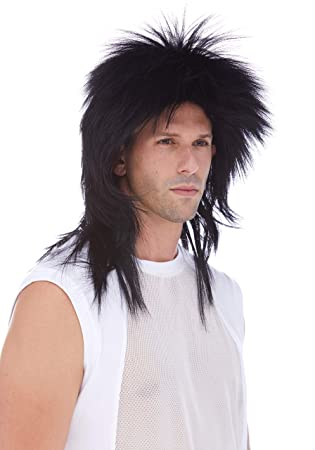 Amazon.com : Long Rocker Color 1 Black - Sepia Wigs Deluxe ...
