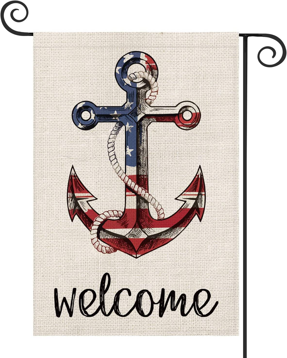 AVOIN Welcome American Flag Anchor Garden Flag Vertical Double Sided Patriotic Strip and Star, 4th of July Memorial Day Independence Day Flag Yard Outdoor Decoration 12.5 x 18 Inch