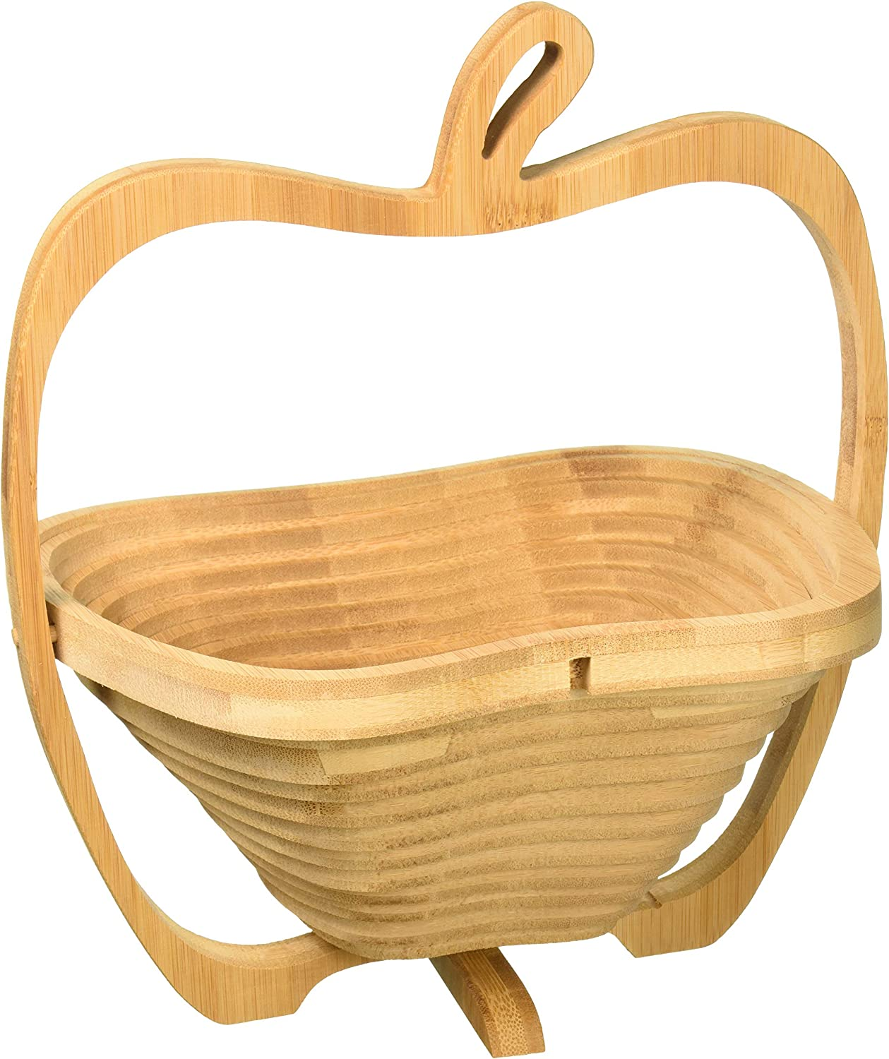 WHAT ON EARTH Collapsible Apple Shaped Bamboo Basket - Kitchen Fruit Centerpiece Bowl Decor.