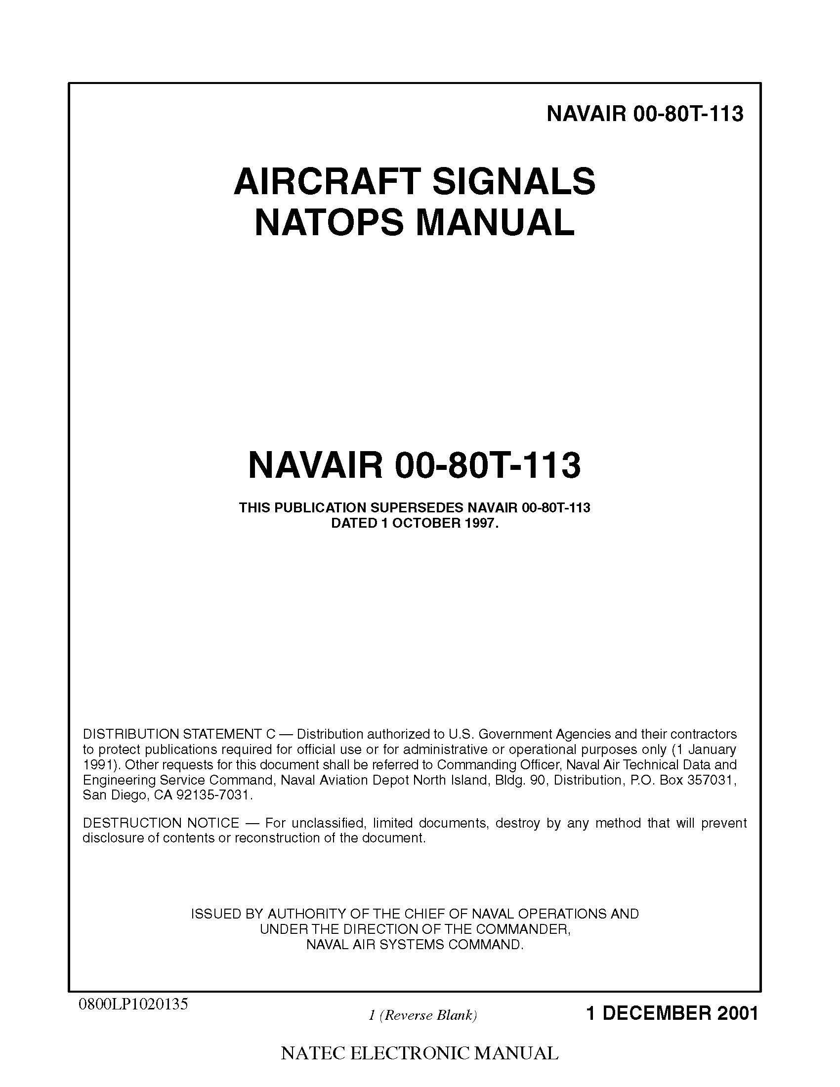 NAVAIR 00-80T-113 Aircraft Signals NATOPS Manual [Loose Leaf Edition] Loose  Leaf – 2001