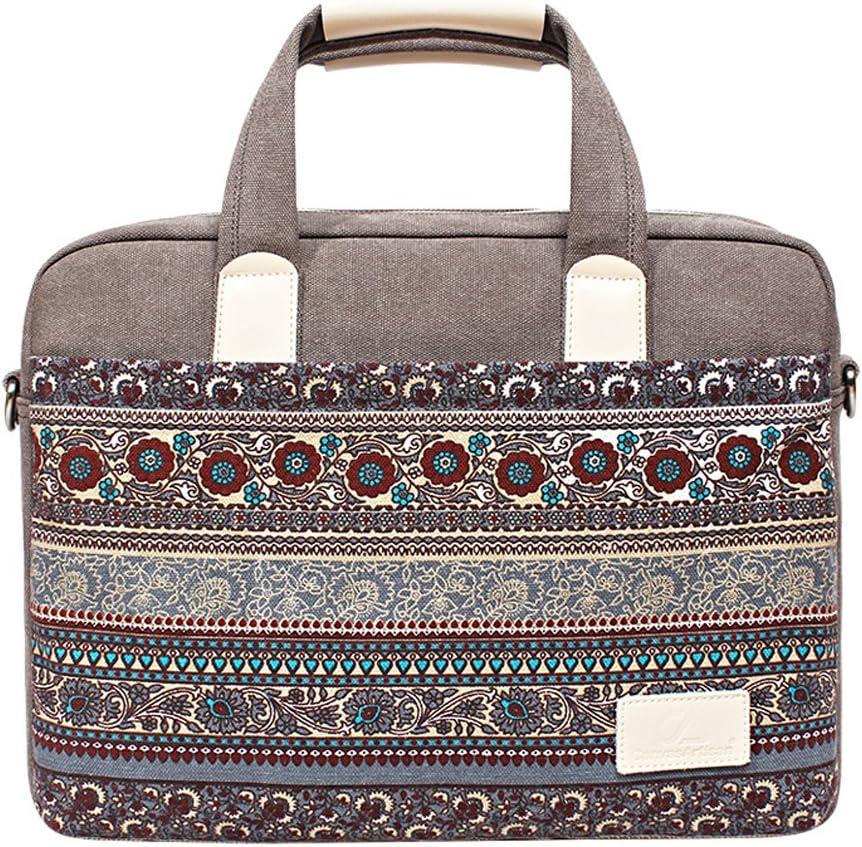Feisman 13-13.6 pulgadas de estilo nacional impermeable resistente al desgaste bolsa de lienzo Portátil para Macbook Air Pro 13, 13 pulgadas maletín Portátil -(gris)
