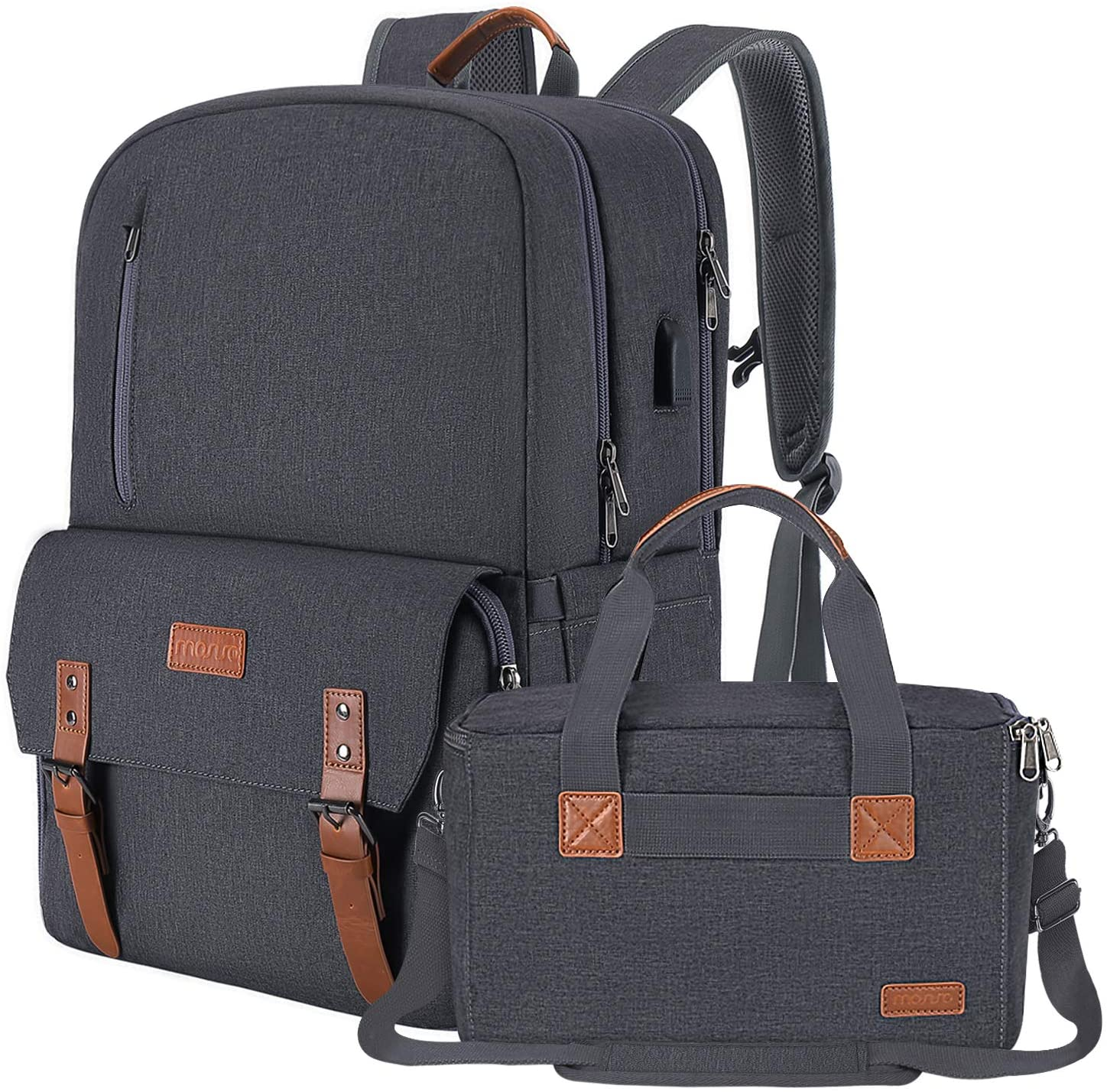 MOSISO Camera Backpack 17.3 inch, DSLR/SLR/Mirrorless Case with Laptop Compartment&Built-in Photography Insert Bag&USB-Charging Port&Rain Cover Compatible with Canon/Nikon/Sony/MacBook, Space Gray