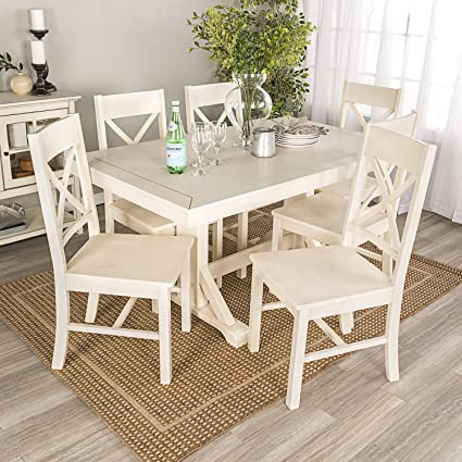 Millwright Wood Dining Set in Antique White - 7 Piece