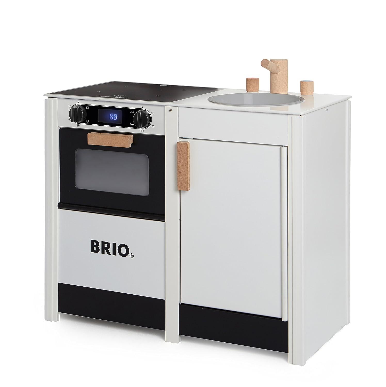 Kinderholzküchen mit Funktionen - Brio Küchenkombi mit Herd und Spüle - Holz Kinderküche mit Licht und Sound