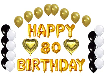 Golden Happy 80th Birthday Decorations Letters Balloon Bundle By Partyplace 2 Heart Shape Balloons