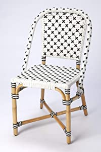 Butler Specialty Tenor Rattan Dining Chair in White and Black