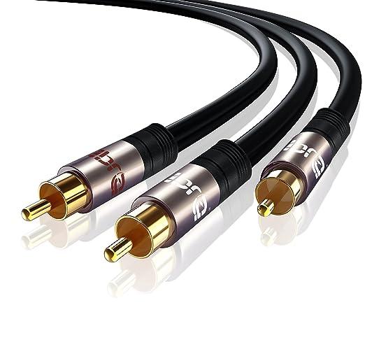IBRA® 2m - Cable Y/Cable Subwoofer Audio   Cable Audio 1RCA Macho a 2 RCA Macho   Gun Metal: Amazon.es: Electrónica