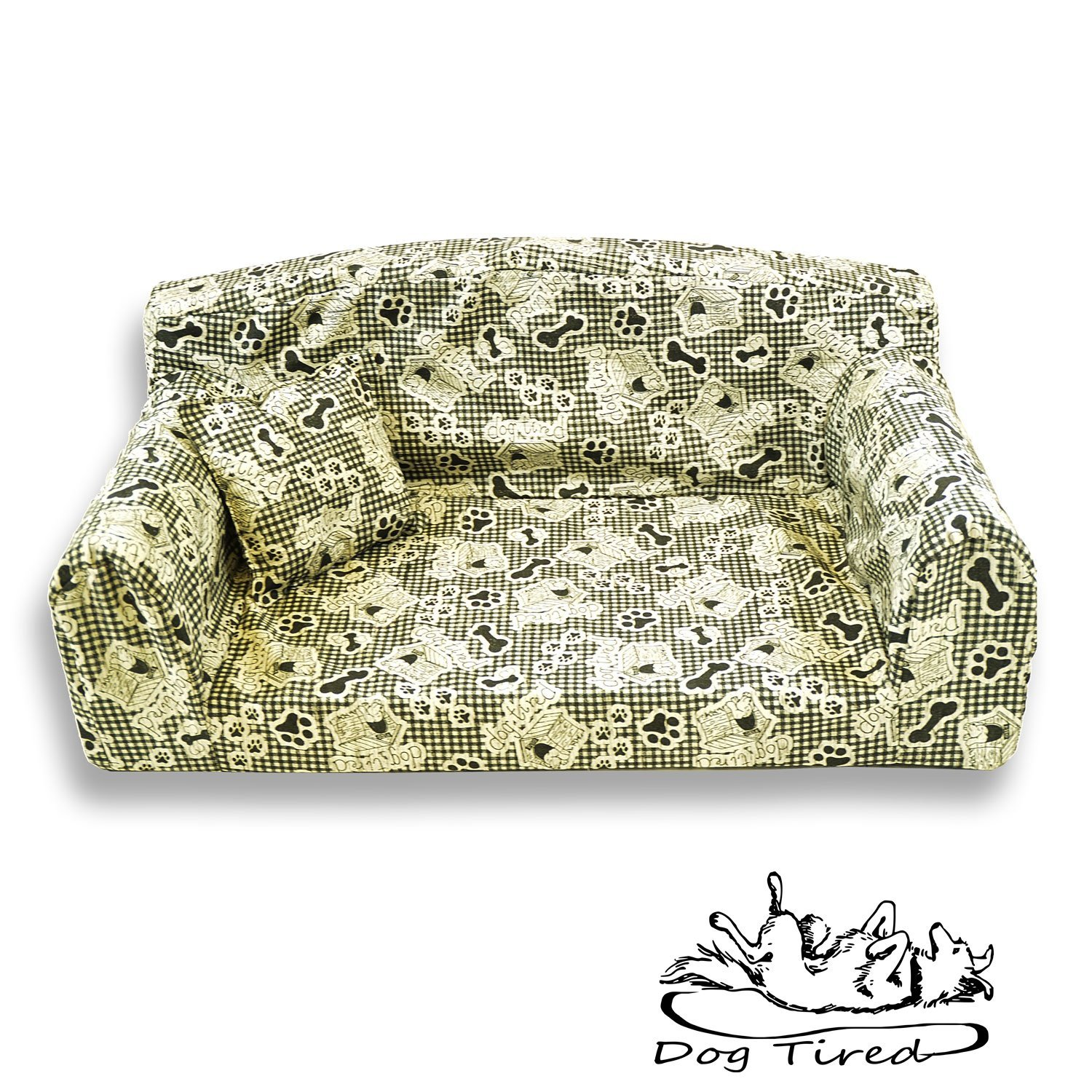 Dog Tired White – Pet Sofa. Trendy 3 sizes Dog bed. Modern cover material. Made in UK (Large 96 x 64 x 34 cm) Pet Beds Direct