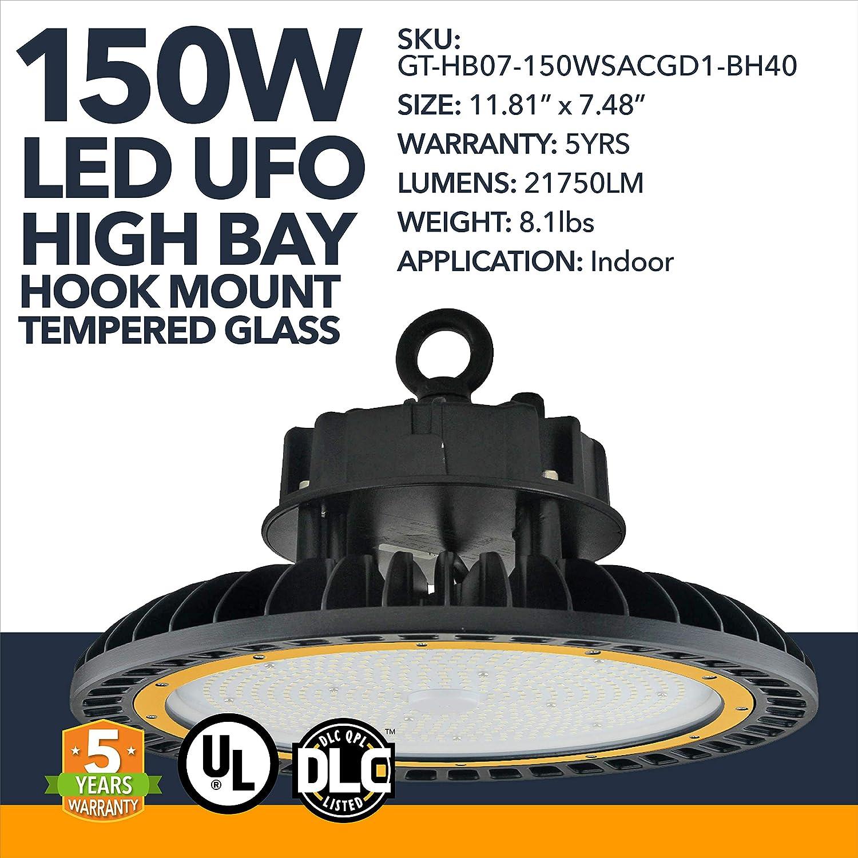 LED DLC High Bay - 150W - High Bay Warehouse Workshop Lights, 21750LM - Tempered Glass Commercial High Bay LED Factory Lights - Hook Mount Lighting, IP65 Rated - 5 Year Warranty - 5700K