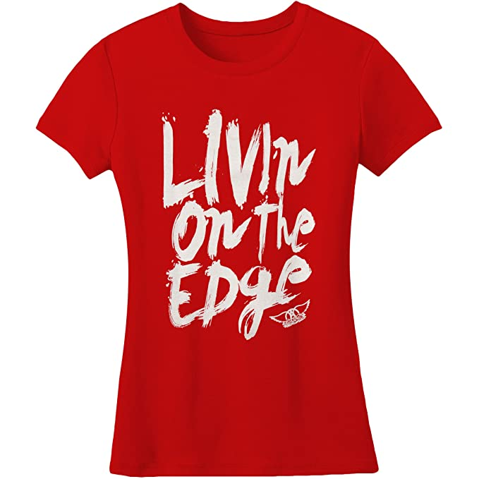 457bb95b Image Unavailable. Image not available for. Color: Aerosmith Women's Livin'  On The Edge Girls Jr Medium Red