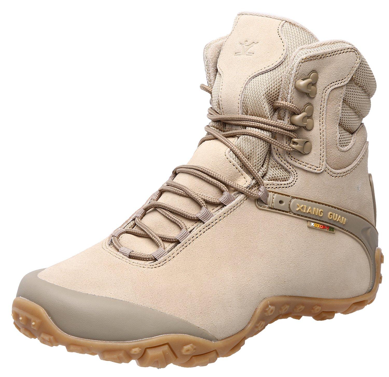 XIANG GUAN Women's Outdoor High-Top Waterproof Trekking Hiking Boots Sand 7.5