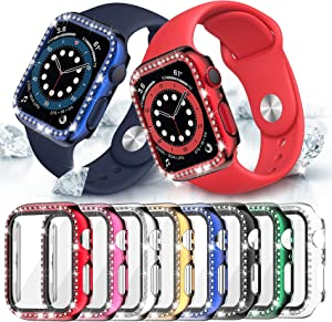 8 Pack Bling Case with Tempered Glass Screen Protector Compatible with Apple Watch 38mm Series 3/2/ 1, Fvlerz Hard PC Crystal Diamond Rhinestone Cover All-Around Protective iWatch Accessories