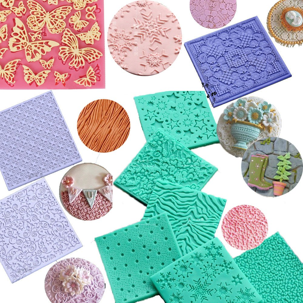 set of 13 Fondant Impression Mats square lace floral christmas leather Cobble Stone Wall textures mould Design Silicone imprint mold Cake Decorating Supplies for Cupcake Wedding Cake Decoration