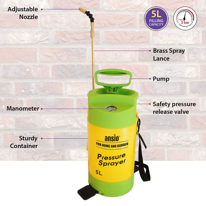 ANSIO Pulverizador de presión 5L Acción de la Bomba con válvula de Seguridad, Correa de Hombro para jardín, acción de la Bomba de césped - Garantía de ...