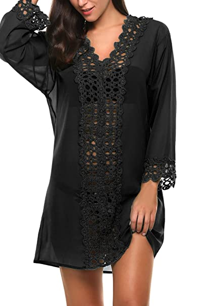 ec6bea25d0 Fanala Black Beach Cover up Swimwear for Women Plus Size Swimsuit Cover up  Cover-Ups at Amazon Women's Clothing store: