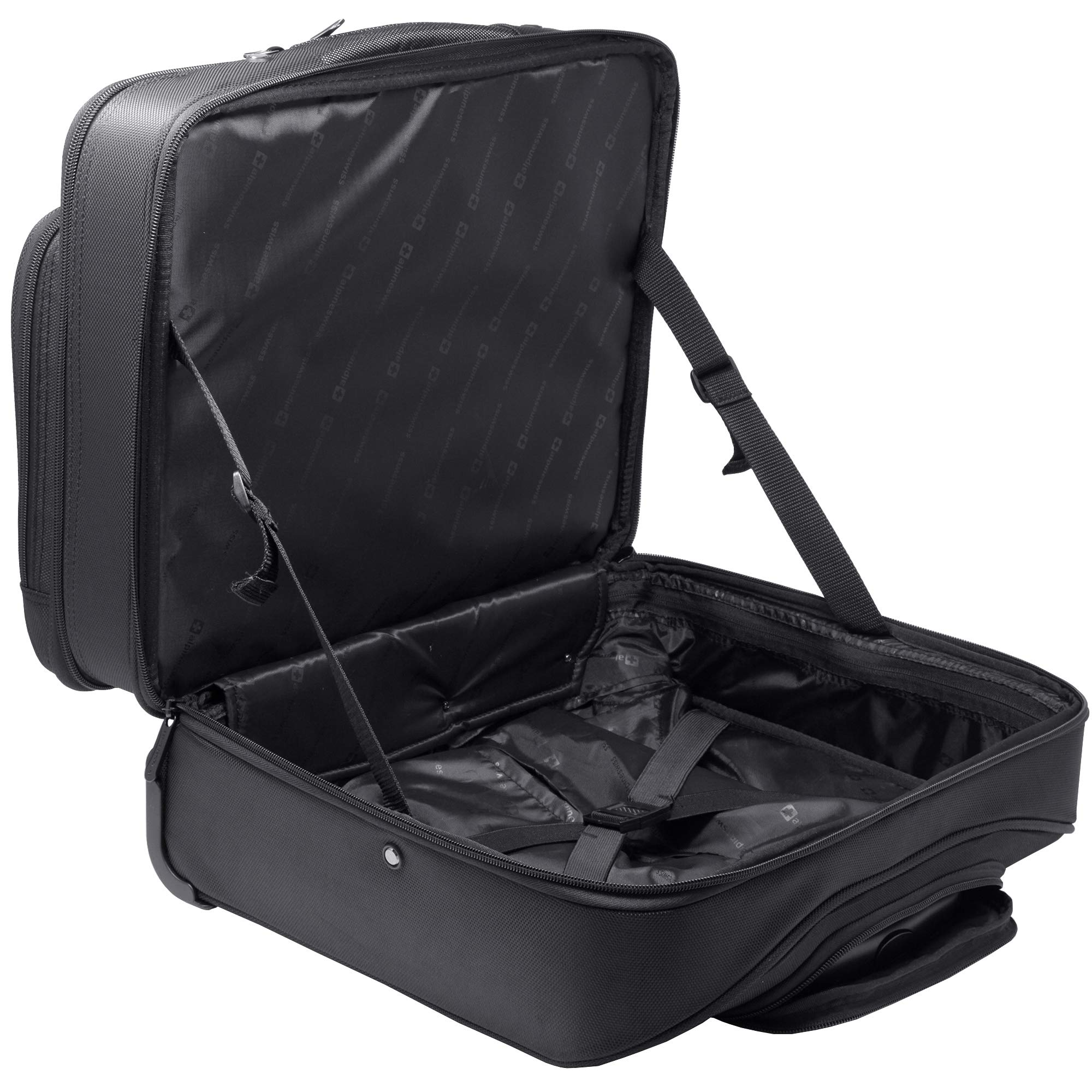 Alpine Swiss Rolling Laptop Briefcase Wheeled Overnight Carry on Bag Up to 15.6 Inches Notebook - Carries Legal Size Files by alpine swiss (Image #5)