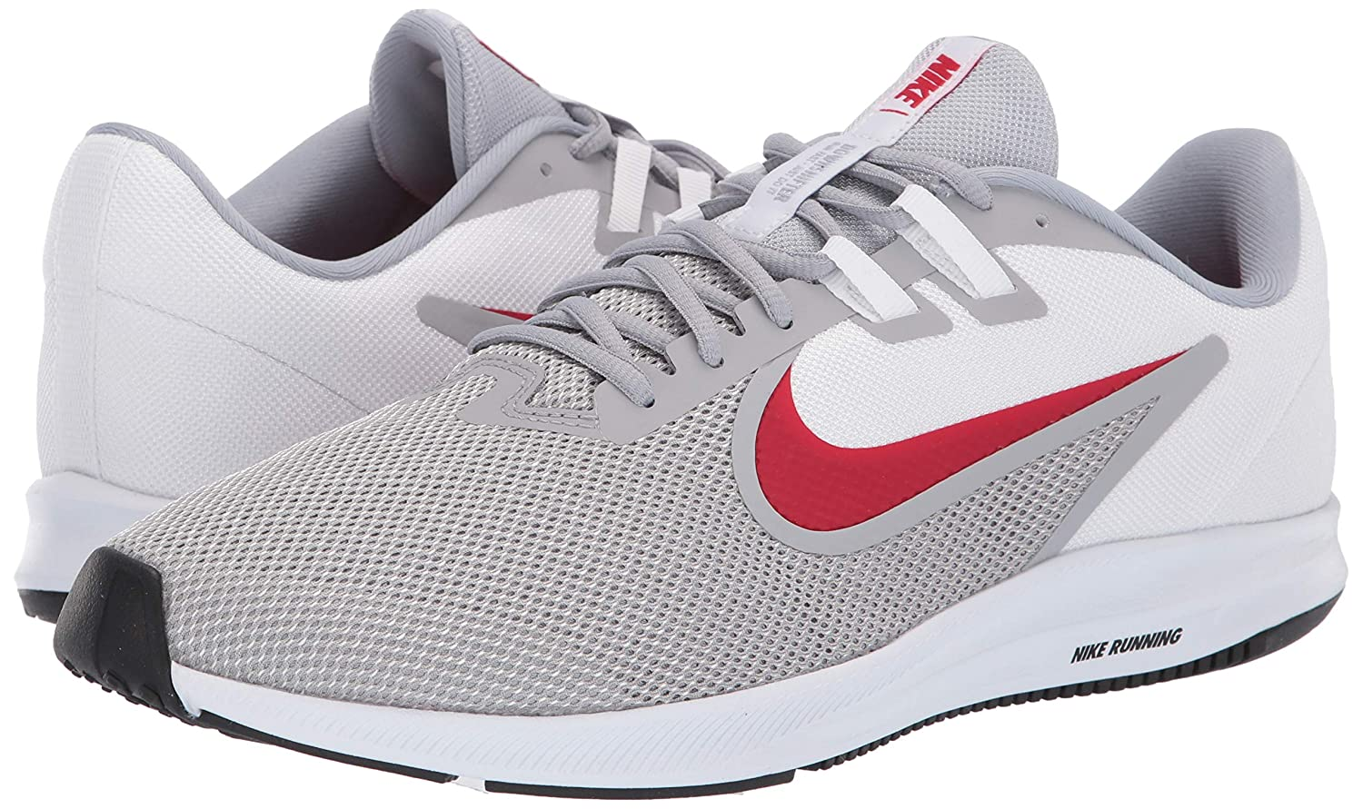 purchase cheap ec4e9 73a95 Amazon.com   Nike Men s Downshifter 9 Sneaker, Wolf Grey University red -  White, 11.5 Regular US   Shoes