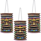 Beistle Tiki Paper Lanterns, 9-Inch, Multicolor