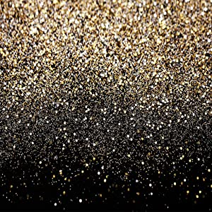 SJOLOON Black and Gold Backdrop Golden Spots Backdrop Vinyl Photography Backdrop Vintage Astract Background for Family Birthday Party Newborn Studio Props 11547(10x10FT)