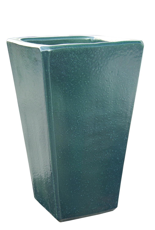 Großer Pflanztopf Pflanzkübel eckig frostsicher Größe L 30 x B 30 x H 50 cm, Farbe effekt grün, Form 150.050.66 Pflanzkübel quadratisch Qualität von Hentschke Keramik