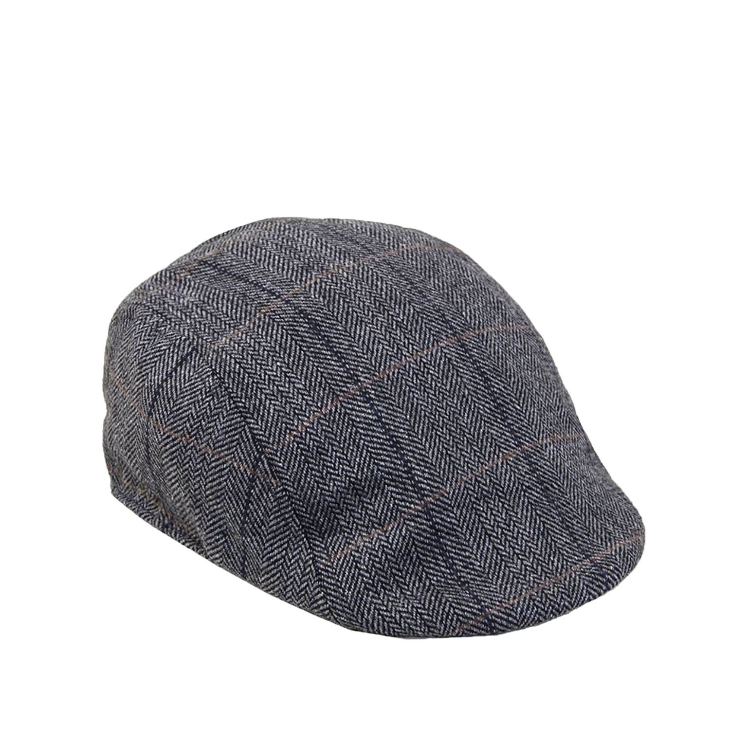 215a317044c Marc Darcy Men s Tweed Check Print Flat Cap in Charcoal - L XL   Amazon.co.uk  Clothing
