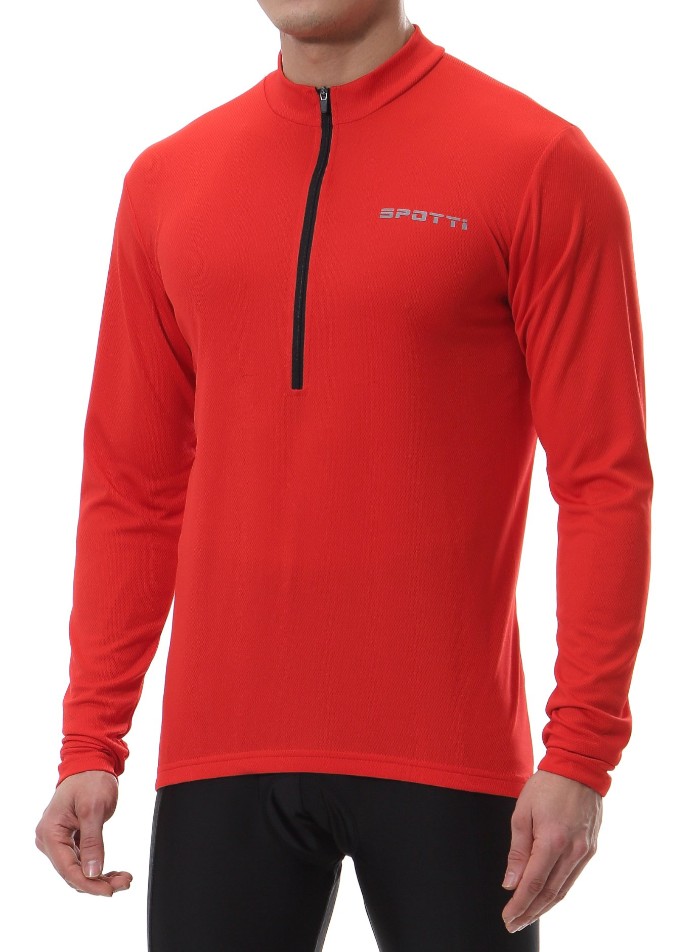 Spotti Men's Long Sleeve Cycling Jersey, Bike Biking Shirt- Breathable and Quick Dry (Chest 36-38 - Small, Red)
