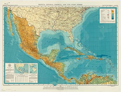 Historic Map | Mexico and Central America 1953 | Mexico, Central America,  and The West Indies : map of The Americas 1:5,000,000 | Antique Vintage ...