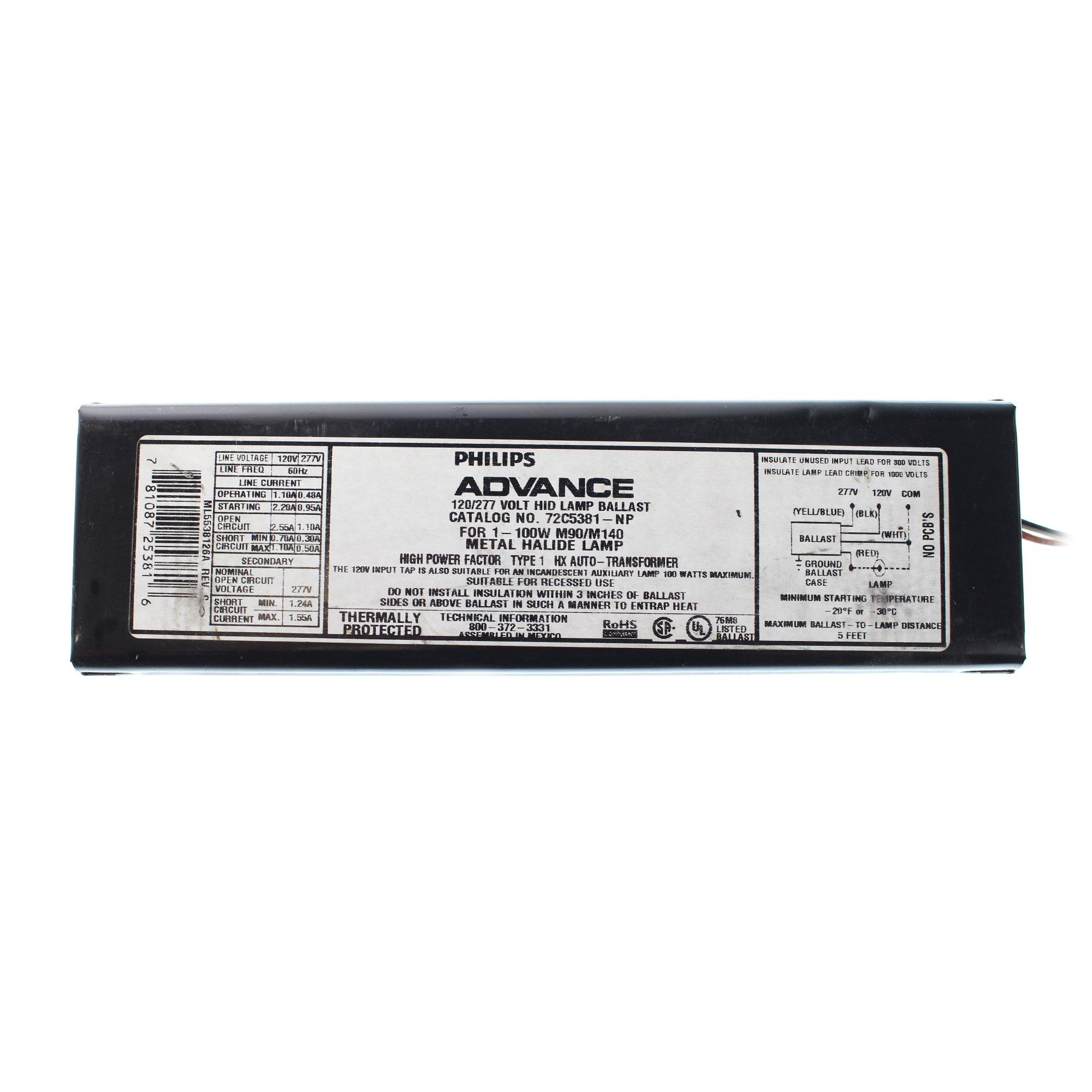 Advance 72C5381NP - 100 Watt - Pulse Start Metal Halide Ballast - ANSI M90/M140 - 120/277 Volt - Power Factor 90 - Side Leads with Mounting Feet