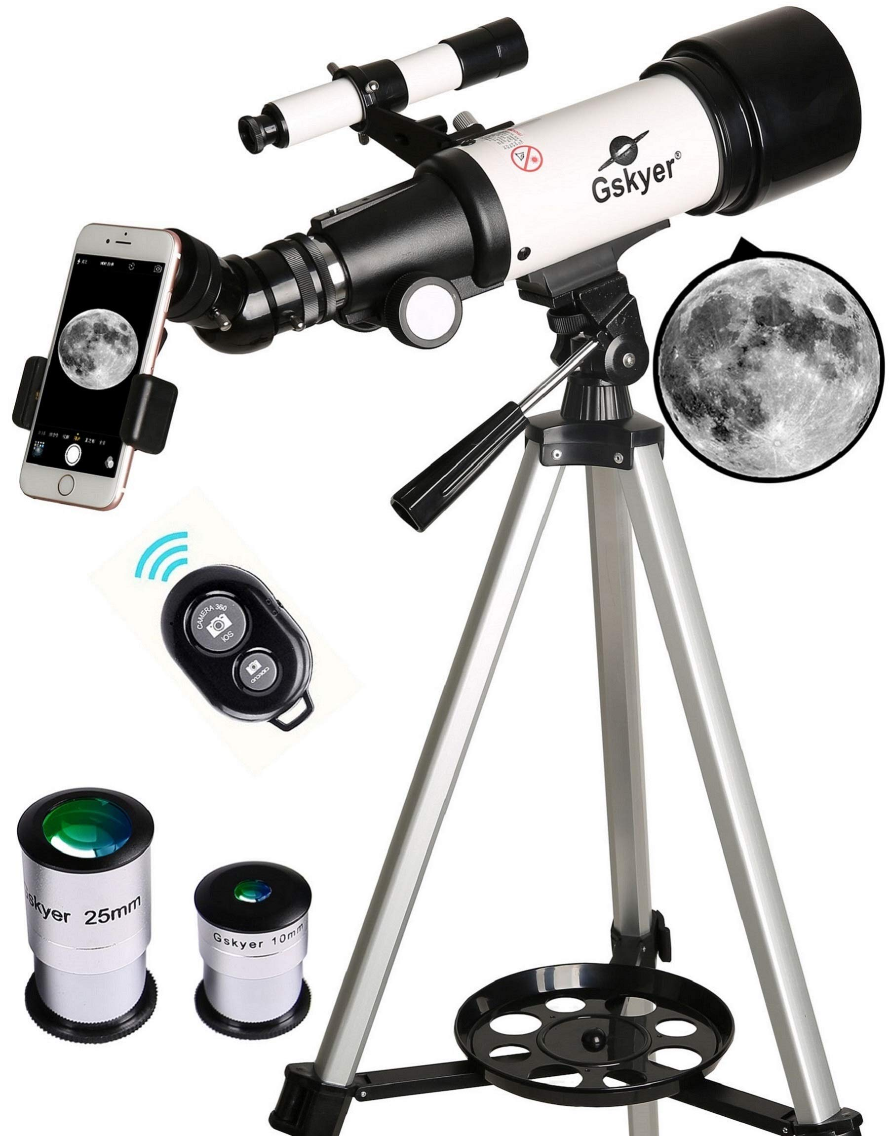 Gskyer Telescope, Travel Scope, 70mm Aperture 400mm AZ Mount Astronomical Refractor Telescope for Kids Beginners - Portable Travel Telescope with Carry Bag, Smartphone Adapter and Wireless Remote by Gskyer