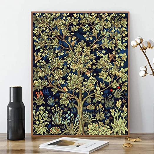 """Amazon.com: Paint by Numbers, Canvas Interesting DIY Oil Painting Kit for Kids & Adults, 16"""" x 20"""" Drawing Paintwork with Paintbrushes, Acrylic Pigment-Tree of Life (Without Frame)"""