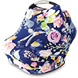 Nursing Cover, Car Seat Canopy, Shopping Cart, High Chair, Stroller and Carseat Covers for Baby Girls- Best Stretchy Infinity Scarf and Shawl- Multi Use Breastfeeding Cover- Pastel Navy Floral