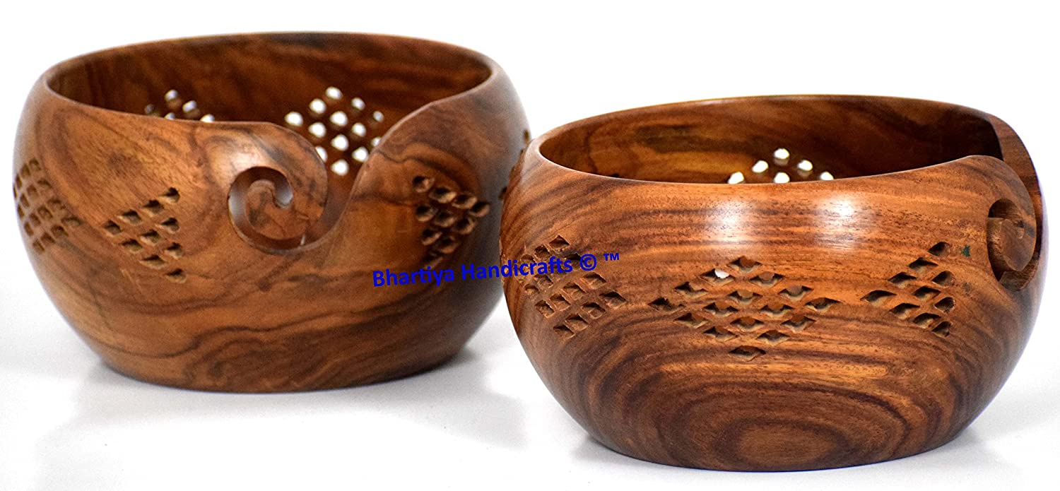Wooden Yarn Bowl new design Portable Knitting Yarn Bowl Hook Holder Bhartiya Handicrafts 7 x 7 x 4 Inch