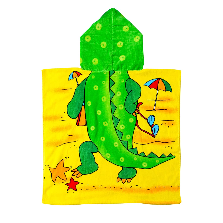 Velours 100/% Baumwolle 60 x 120 cm Kinder Strandponcho Badeponcho Crocodile