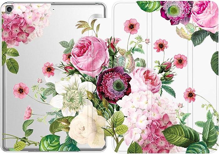 iPad 9.7 2018/2017 Case, iPad Air 2, iPad Air Case, Deenakin Slim Fit Lightweight Smart Cover with Soft TPU Back Case for Apple ipad 6th 5th Gen [Auto Sleep/Wake] -Pink Flower