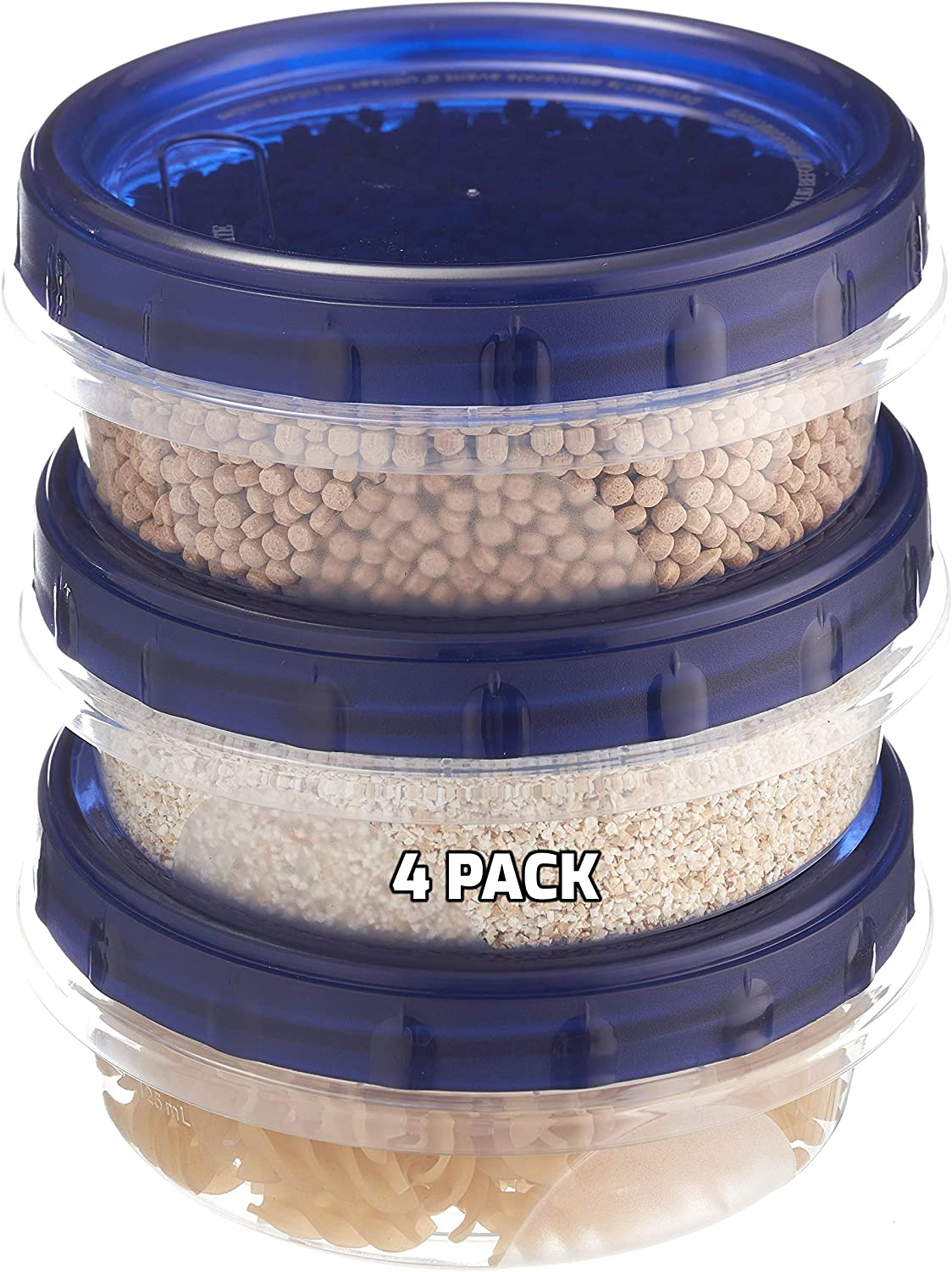 [4 PACK] 8oz Twist Top Storage Containers - Airtight Plastic Food Storage Canisters with Twist & Seal Lids, Leak-Proof - Meal Prep, To Go, Reusable, Stackable, BPA-Free Snack Containers (8 Ounce)