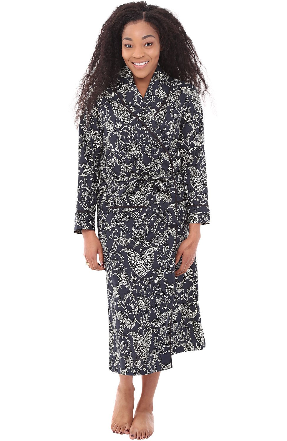 Alexander Del Rossa Womens Cotton Robe, Lightweight Woven Bathrobe, 3XL Midnight Blue Garden (A0515V743X)