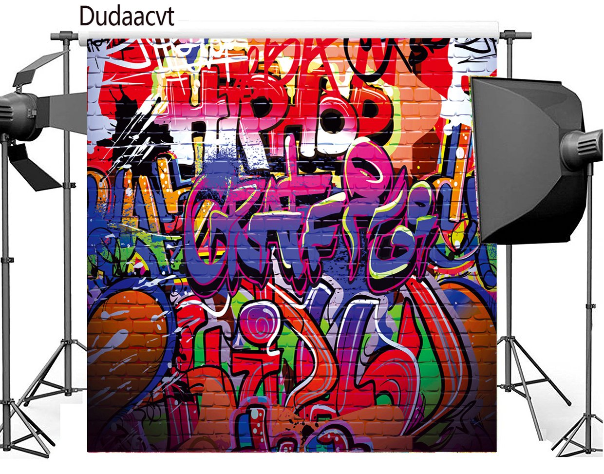 Dudaacvt 8x8 ft Photography Backdrop Hip Hop Graffiti Style Backdrop Vintage Colorful Background Q0140808 by Dudaacvt