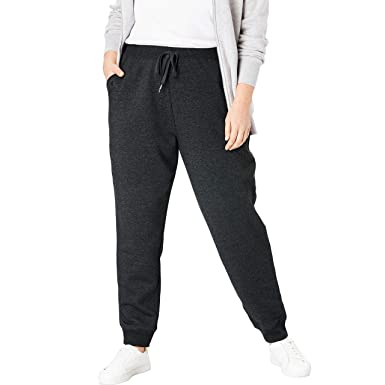 aa21608a62e6 Woman Within Women's Plus Size Petite Better Fleece Jogger Sweatpant -  Heather Charcoal, ...