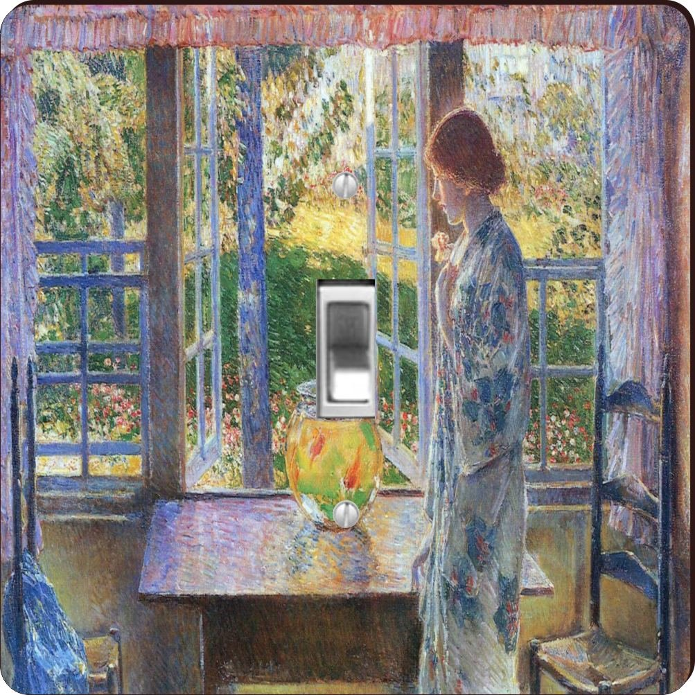 Rikki Knight RK-LSPS-3014 Childe Hassam Art The Goldfish Window Design Light Switch Plate Cover