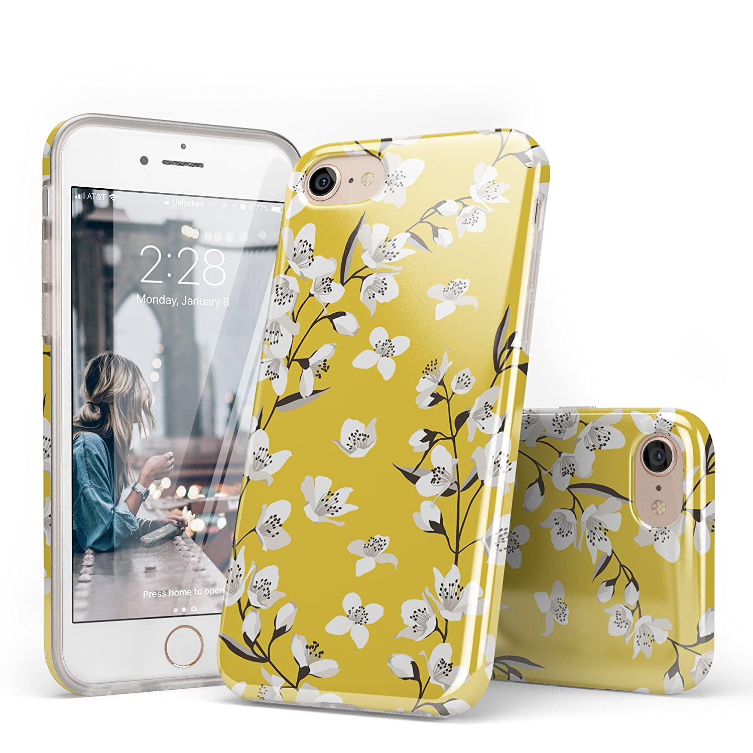 designer fashion 3ce78 37fd0 iPhone 8 Case for Girls, iPhone 7 Case Flower, CASELY White Yellow Floral  Pattern Design Clear Bumper TPU Gel Slim Soft Flexible Rubber Silicone  Cover ...