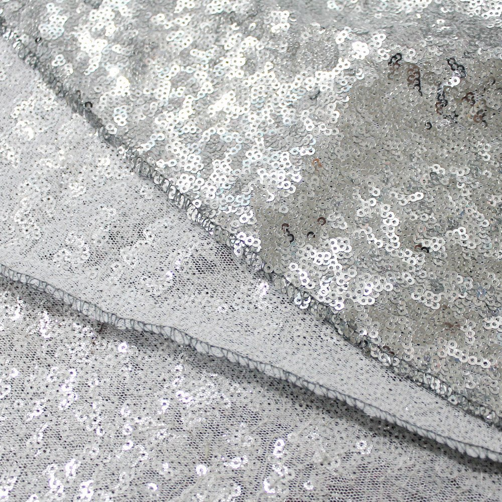 Pack of 10PCS,High Quality Sparkly 120-Inch Round Sequin Tablecloth, Silver Sequin Table Overlay,Cake Sequin Tablecloths,Sequin Linens for Wedding by LQIAO