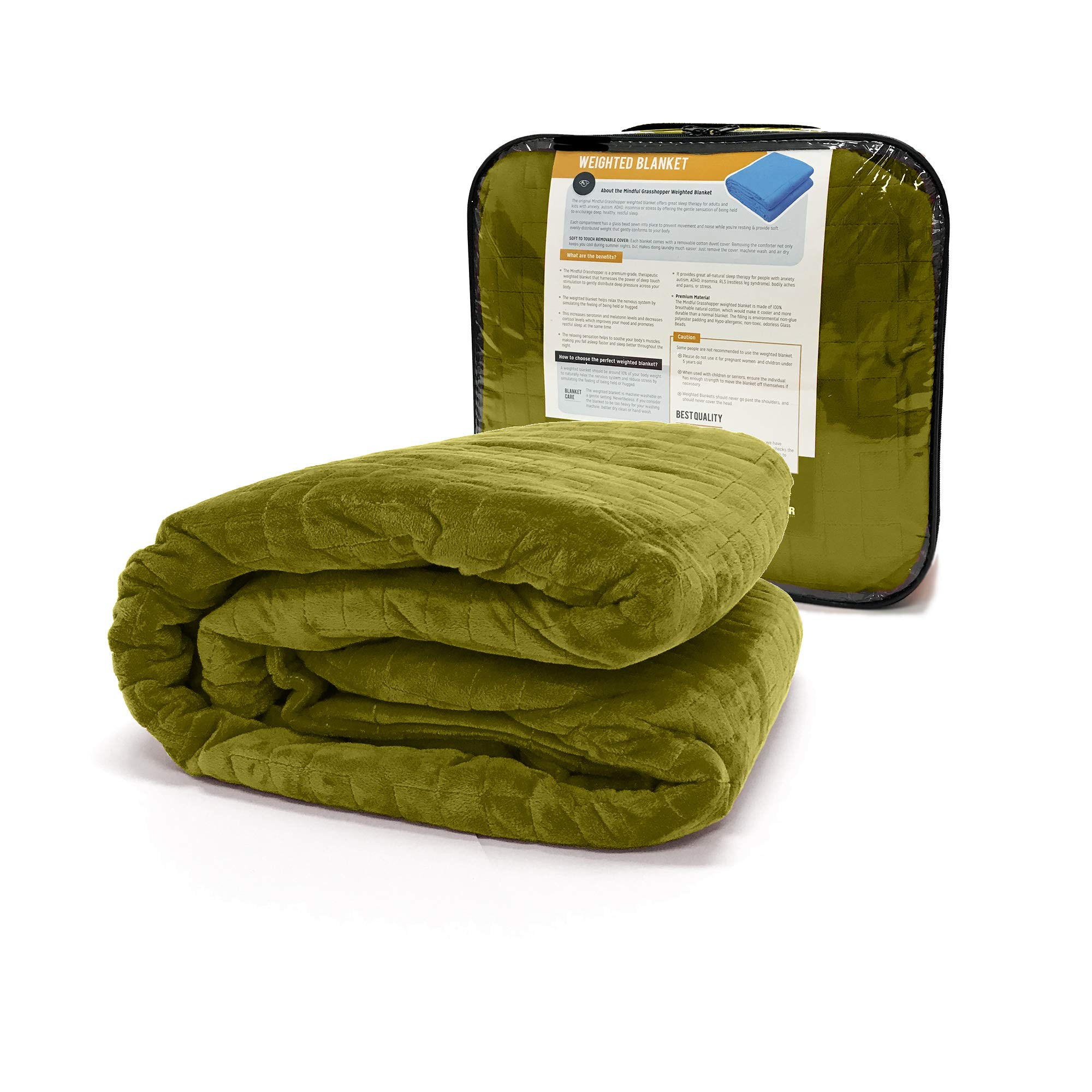 Weighted Blanket for Kids 5 lb, Cool Heavy Blanket for Children 30-40 lbs, 2 Soft Covers Green/Yellow, Premium Cotton with Glass Beads, Perfect for Boys and Girls, Sensory Blankets, Size 36x48in.